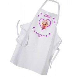 Baked With Love, Heart Personalised Ladies Kitchen, Cup Cake White Apron.