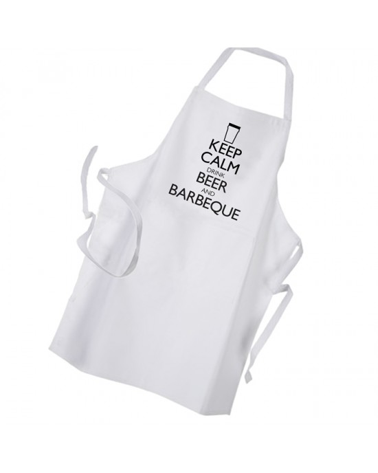 Keep Calm Drink Beer & BBQ Personalised Apron Black Or White