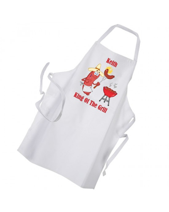 King Of The BBQ Personalised Apron. Comic Character Design