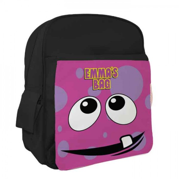 Pink Funny Face Personalised Kids Back-Pack, Ruck Sack. Great For pre-School,  school, Holidays, Sports or Picnic's