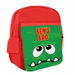 Green Funny Face Personalised Kids Back-Pack, Ruck Sack. Great For pre-School,  school, Holidays, Sports or Picnic's
