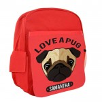 Pug Love Personalised Kids Back-Pack, Ruck Sack. Great For pre-School,  school, Holidays, Sports or Picnic's