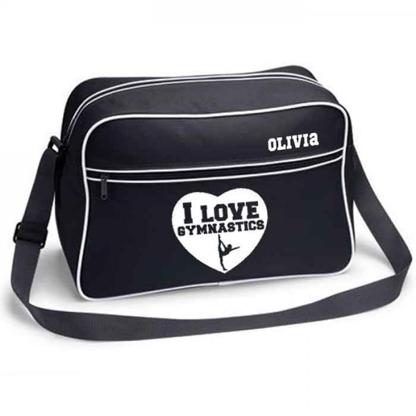 Girls Gymnastics Personalised Retro Sports Bag. Black With White Or White With Black Colours.