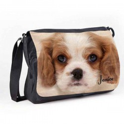 Great looking King Charles Spaniel Design Dog Personalised Gift Messenger / School / Sleepover Bag.