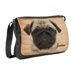 Fun Pug Dog Personalised Gift Messenger / School / Sleepover Bag.