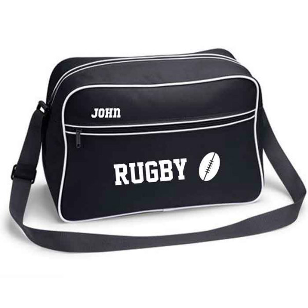 Personalised Rugby Retro Sports Bag. Black With White Or White With Black Colours.