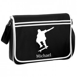 Skateboard Personalised Gift Messenger / School / Sleepover Bag.