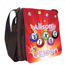 Bingo Queen Bag Personalised Gift Handbag, Small Messenger, School, Sleepover Bag.