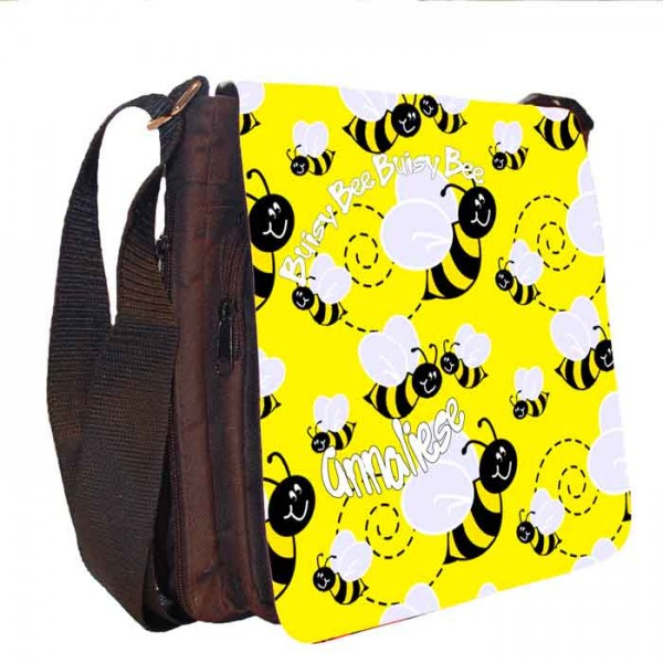 Bumble Bee Personalised Gift Handbag, Small Messenger, School, Sleepover Bag.