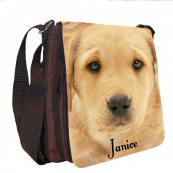 Labrador Dog Personalised Gift Handbag, Small Messenger, School, Sleepover Bag.