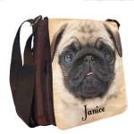 Fun Pug Dog Personalised Gift Handbag, Small Messenger, School, Sleepover Bag.