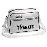 Personalised Ladies Karate Retro Sports Bag. Black With White Or White With Black Colours.