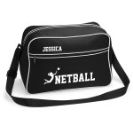 Personalised Ladies Netball Sports Bag. Available In Black Or White.