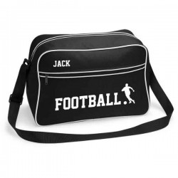 Personalised Football Retro Sports Bag. Black With White Or White With Black Colours.