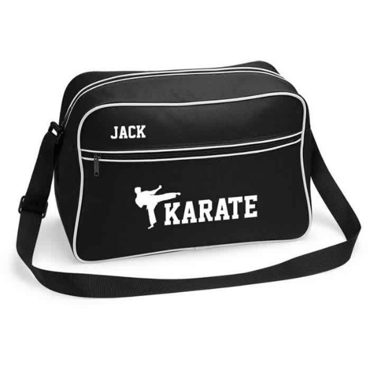 personalised karate retro sports bag black with white or white with black colours. Black Bedroom Furniture Sets. Home Design Ideas