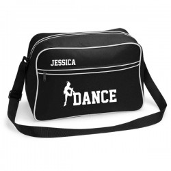 Personalised Dance Retro Sports Bag. Black With White Or White With Black Colours.