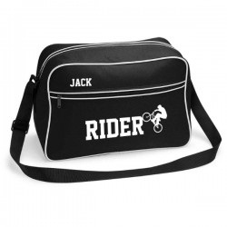Personalised BMX Rider Retro Sports Bag. Black With White Or White With Black Colours.