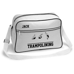Trampoline Bag Retro Sports Bag. Black With White Trim Or White With Black Trim Colours.