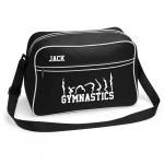 Gymnastics unisex Personalised Retro Sports Bag. Tumble Design. Black With White Or White With Black Colours.
