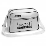Gymnastics unisex Personalised Retro Sports Bag. Tumble Design. Black With White Or White With Black Colours.
