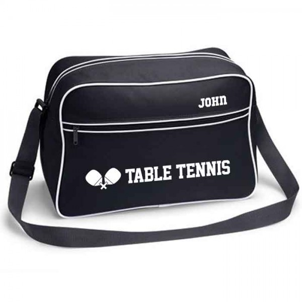 Table Tennis Personalised Retro Sports Bag. Black With White Or White With Black Colours.