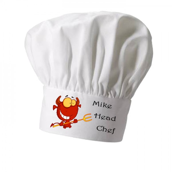 Kitchen Devil,Cooking Chef Character,  Grill Personalised Chef Hat