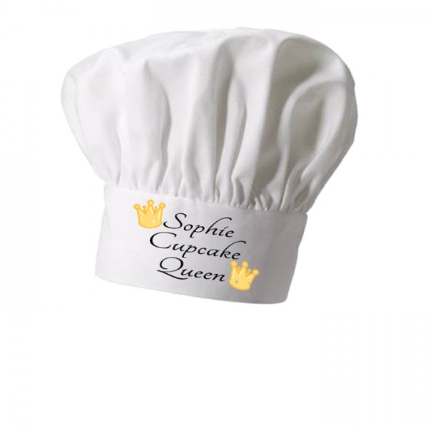 Cup Cake Queen, With Crown, Personalised Chef Hat