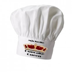 Cup Cake Queen, With Red Crown, Personalised Chef Hat