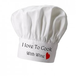 Love's To Cook With Wine Cooking Personalised Chef Hat