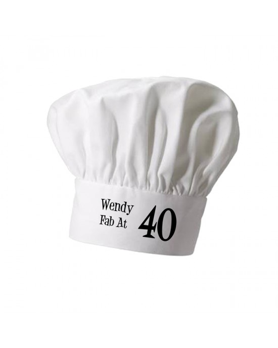 Personalised Chef Hat. Printed With your words or text