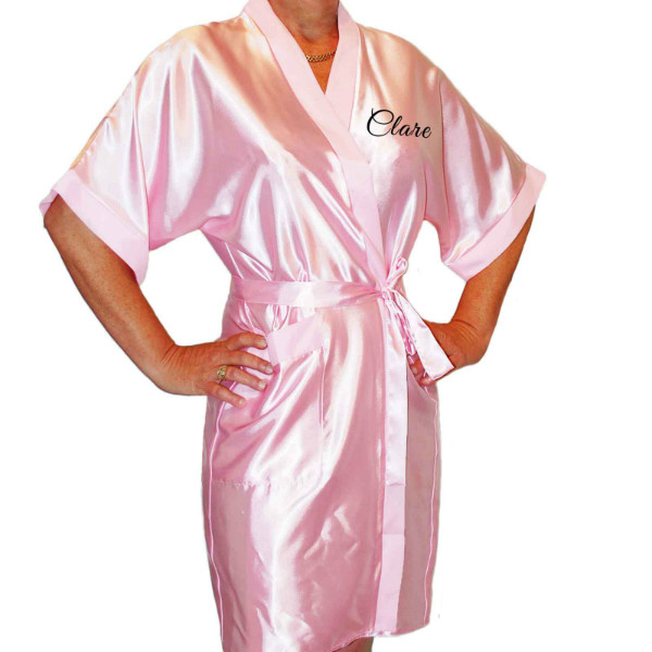 Simple Script Black Print Personalised Satin Robe. Colours Available. Wedding Favours For The Whole Wedding Party, Bridesmaid. Bride