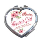 Flower Girl Flower Bouquet Design Thank you Gift, Heart Compact Mirror