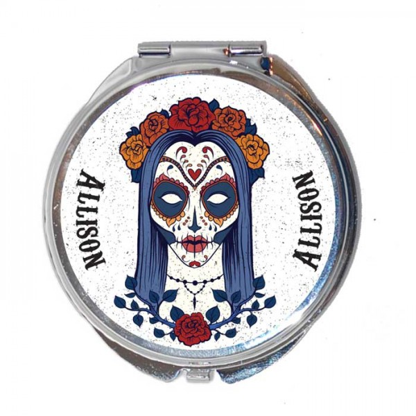 Sugar Skull, Candy Skull Personalised Round Compact Mirror. Lovely Gift