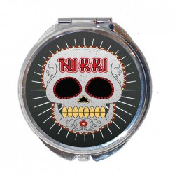 Personalised Sugar Skull, Candy Skull Round Compact Mirror.