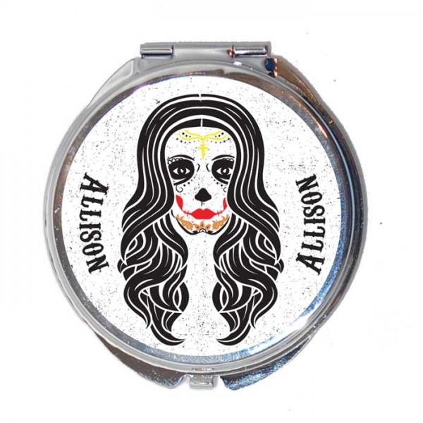 Personalised Sugar Skull Round Compact Mirror. Lovely Gift