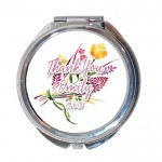 Personalised Thank you Gift Round Compact Mirror. Personalised Wedding, Teacher, Present