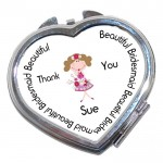 Bridesmaid Heart Shaped Compact Mirror. Wedding favour