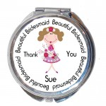 Bridesmaid Gift Round Compact Mirror. Personalised Wedding Favour
