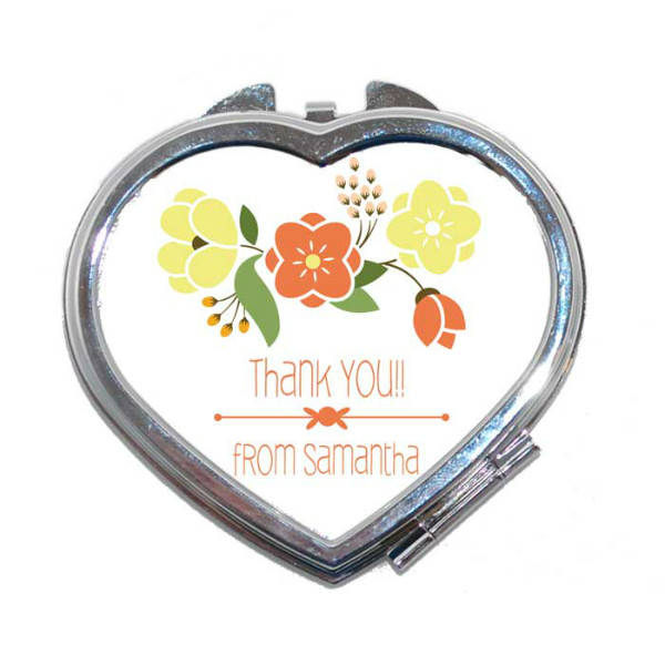 Thank you Gift, Heart Shaped Compact Mirror. Wedding favour, thank you gift