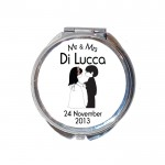 Wedding of Gift Round Compact Mirror. Personalised Wedding Favour
