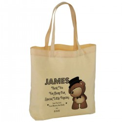 Personalised Cute Page Boy Teddy Wedding Favour Cotton Tote Bag Wedding Party . Available in two sizes.
