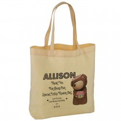 Personalised Cute Flower Girl Teddy Wedding Favour Cotton Tote Bag Wedding Party . Available in two sizes.