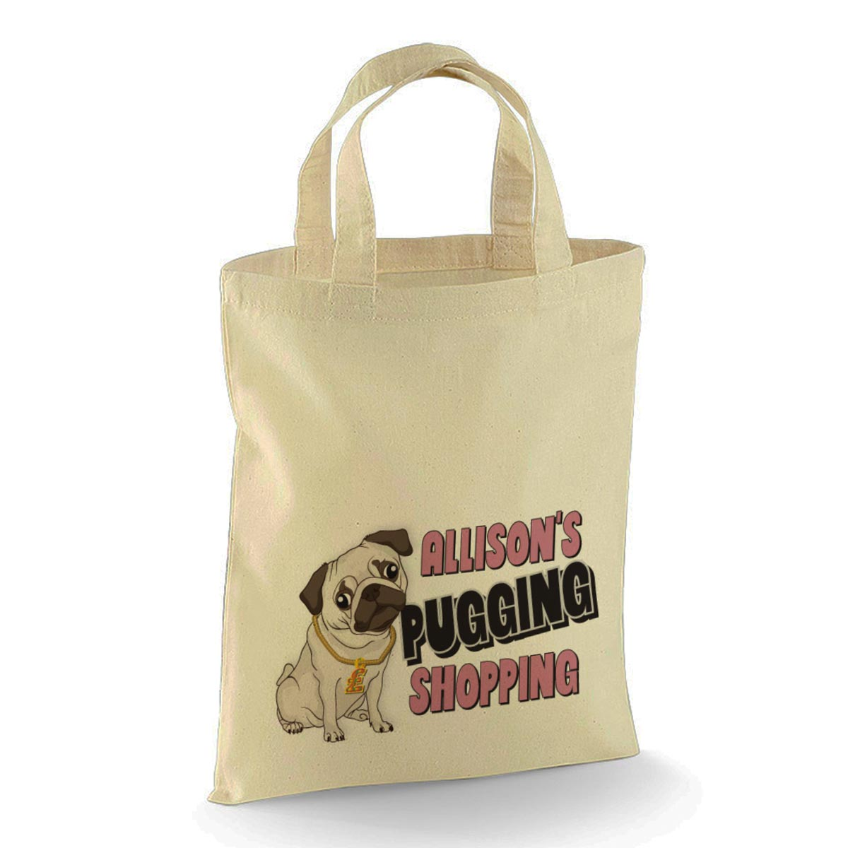 Pugging Shopping Bag Cotton Tote Bag. Nice Fun Gift. Available in ...