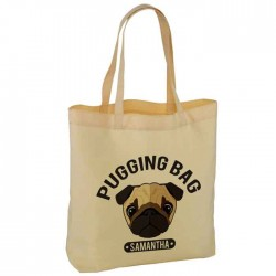 Personalised Pugging Shopping Bag Cotton Tote Bag. Nice Fun Gift. Available in two sizes. With Handles