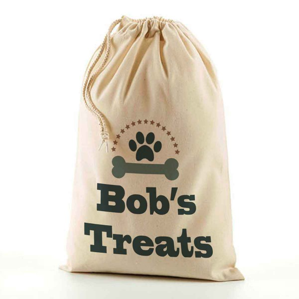 Doggy Treats Bag, Personalised Doggy snacks Bag, Pet Bag. Natural Cotton Drawstring Stuff Bag, Change any text to personalise.