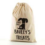 Personalised Doggy Treats / Snacks Bag, Natural Cotton Drawstring Stuff Bag, Change any text to personalise. Available In sizes