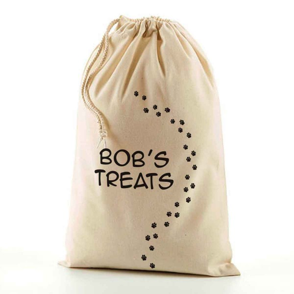 Personalised Doggy Treats Bag, Pet  Snacks Bag. Natural Cotton Drawstring Stuff Bag, Change any text to personalise. Available In sizes