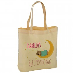 Personalised Sleep Over Bag, Teddy & Moon design Nice Practical bag Available in two sizes.