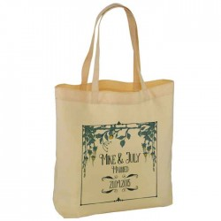Pretty Floral Border Personalised Wedding Favour Cotton Tote Bag Wedding Party . Available in two sizes.