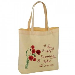 Poppy Design Personalised Wedding Favour Cotton Tote Bag Wedding Party . Available in two sizes.